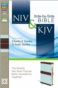 NIV and KJV Side-by-Side Bible (Chocolate/Turquoise Italian Duo-Tone, Gilded-Silver Page Edges)