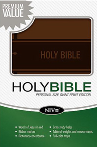 Niv Personal Size Giant Print Bible - Brown Italian Duo Tone