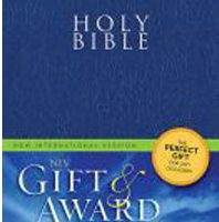 Bible – Gift and Award Bible (NIV, Blue/Black Leather-Look, Velva-Silver Page edges)