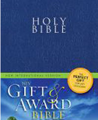 Gift and Award Bible (NIV, Blue Leather-Look, Velva-Silver Page edges)